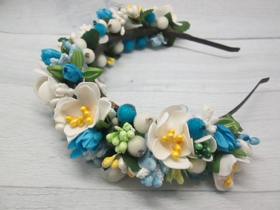 Свадьба - Bridal floral crown Floral accessory Mother wedding Bridesmaids jewelry Blue flower jewelry White flower jewelry Blue bridal jewelry Blush