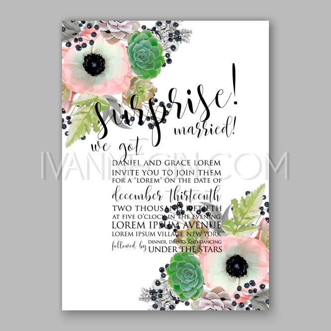 Wedding - Anemone wedding invitation card printable template - Unique vector illustrations, christmas cards, wedding invitations, images and photos by Ivan Negin