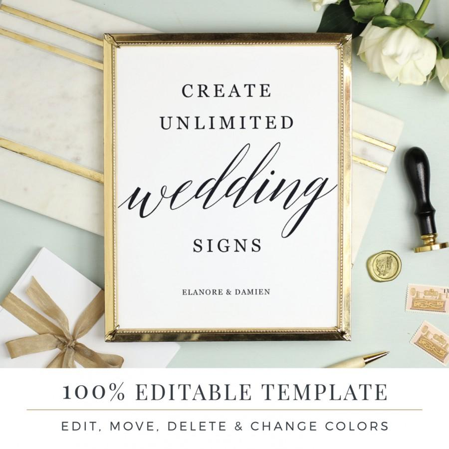 Wedding sign template editable favor