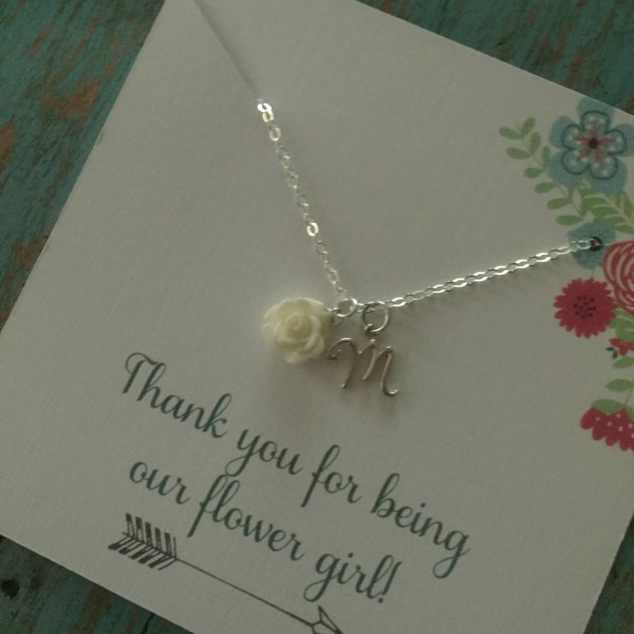 Mariage - White Flower Girl Necklace - Initial Charm - Layering Necklace - Girls Jewelry - Minimalist Necklace - Flower Girl Gift - Custom Necklace
