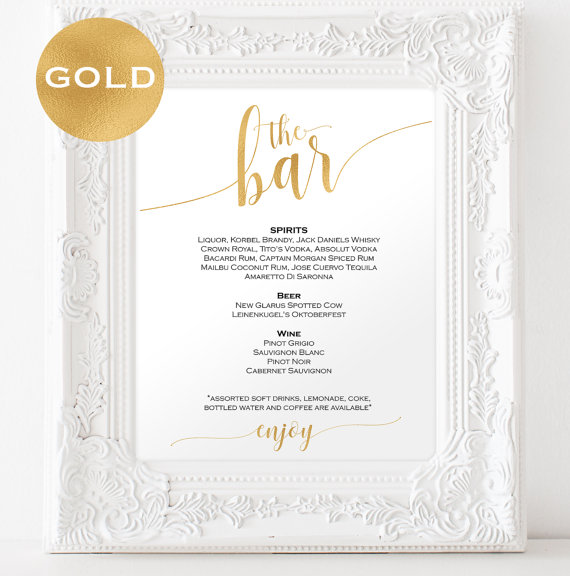 Mariage - Gold Bar menu wedding - Bar menu sign - Drinks Sign - Bar menu printable - Gold wedding printable - Downloadable wedding signs