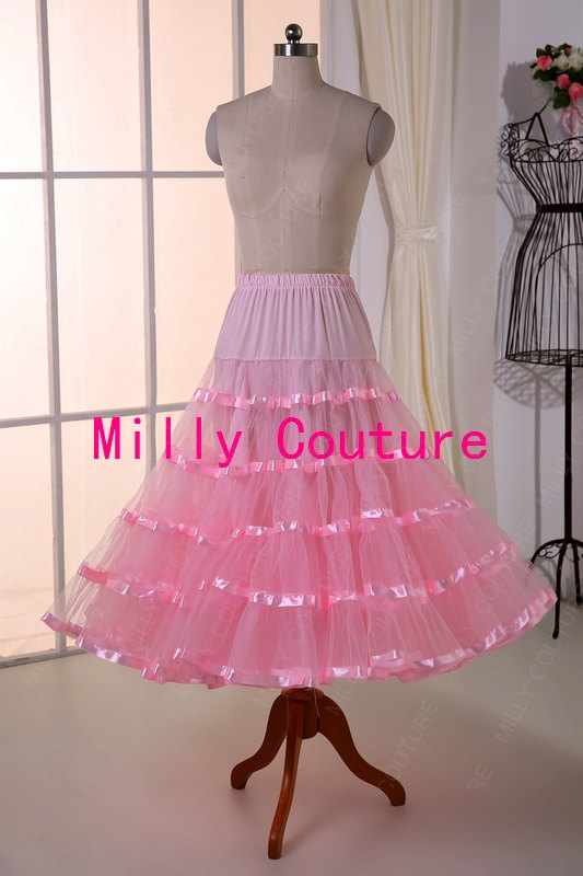 Pink Tea Length Crinoline Mid Fullness Petticoat Petticoat