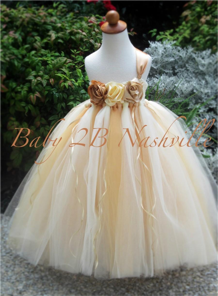 Wedding - Vintage Dress Gold Dress Flower Girl Dress  Wedding Dress Tulle Dress Cream Dress Party Dress Birthday Dress Baby Dress Toddler Dress Tutu