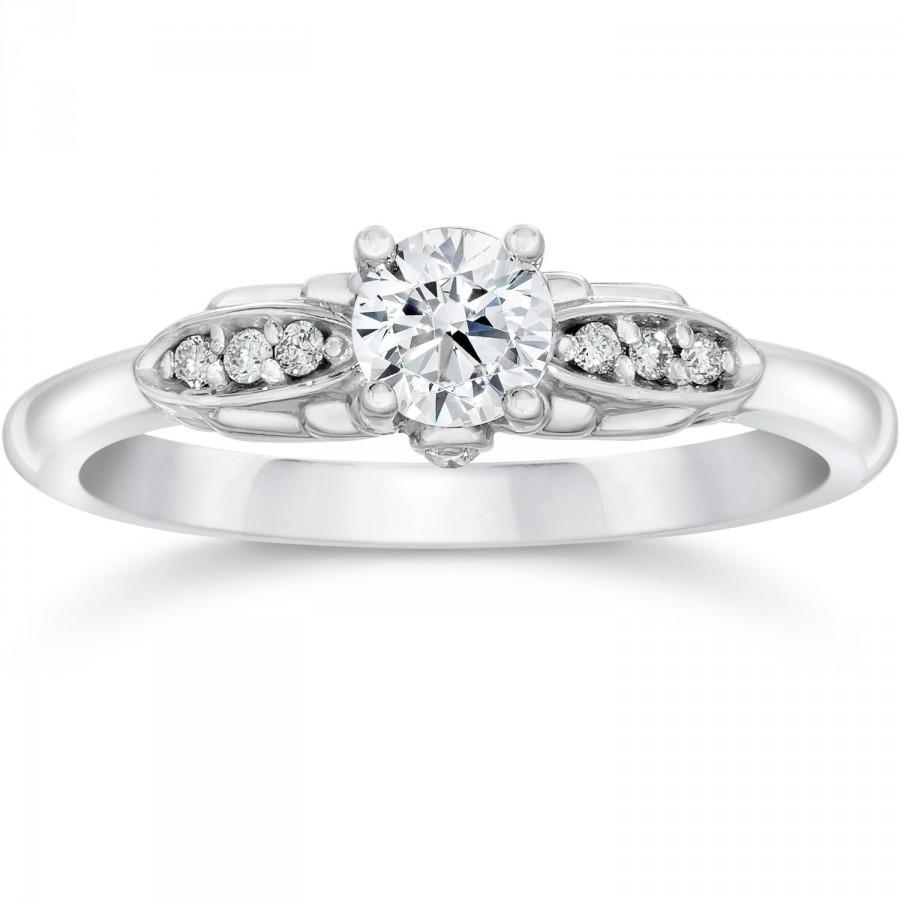 Mariage - VVS1 .50 cttw Diamond Vintage Antique Style Engagement Ring 14K White Gold