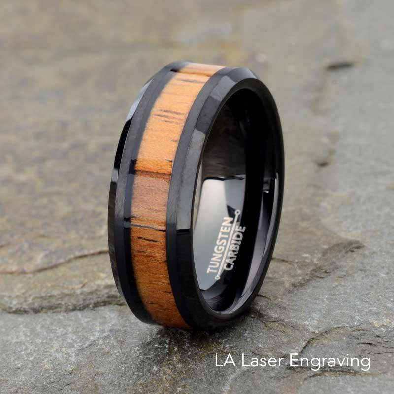 Black Tungsten Carbide Wedding Band Wood Inlay Polished Beveled Edge Wooden Ring Mens