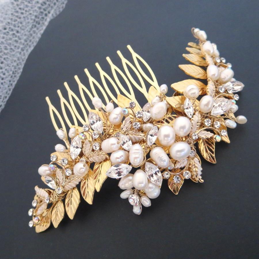 زفاف - Gold Wedding headpiece, Freshwater pearl headpiece, Bridal hair comb, Wedding hair comb, Pearl hair comb, Vintage style hair accessory