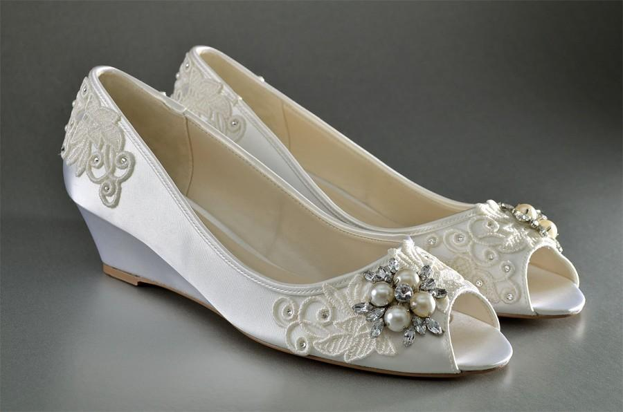 Düğün - Wedding Shoes Lace Wedge Wedding Shoes - Custom Wedding Shoes- Accessories- Women's Shoe- Women's Bridal Wedge Shoe, Ladies Wedding Shoes