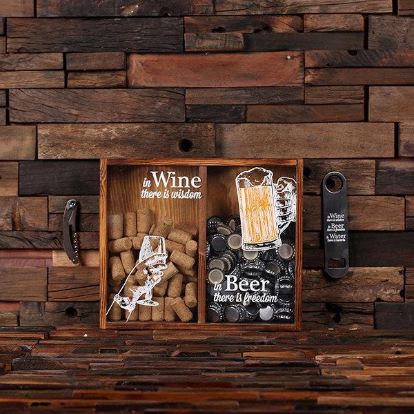Свадьба - Beer Cap Holder Personalized Shadow Box FREE Bottle Opener Corkscrew Wine Cork Holder, Couple , Craft Beer His and Hers, Wedding Gift 025335