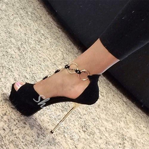 Свадьба - Metal Decoration Stiletto Platform Sandal