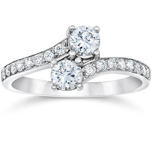 Mariage - 1 Carat Forever Us Diamond Two Stone Engagement Ring 10K White Gold