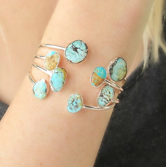 Mariage - Bohemian Jewelry-Bohemian Turquoise Bracelets-CHRISTMAS GIFTS For HER-Turquoise And Silver Cuff Bracelet-Boho Bracelets- Gift For Her