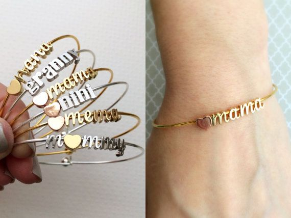 Mariage - Build Your Own Bangle Bracelet - Any Charms Bracelet Mama Bracelet Mother Mommy Bangle Mothers Day Gift Bracelet Personalized Initial