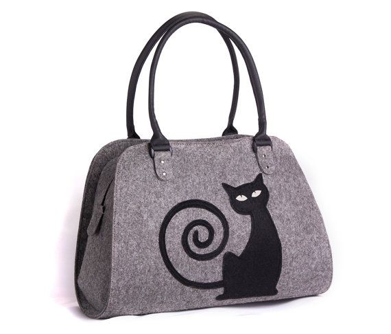 Hochzeit - Cat Handbag Felt Cat Purse Cat Bag Felted Bag Felted Purse Grey Handbag Felt Shoulder Purse