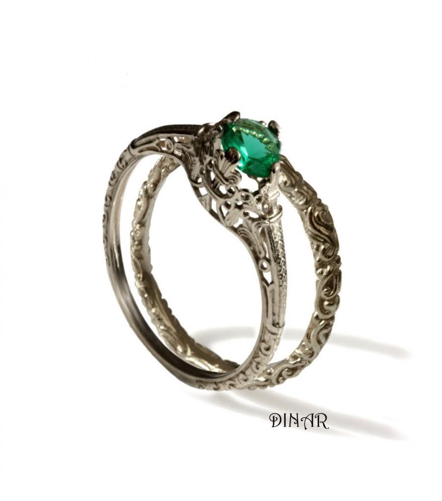 Hochzeit - Bridal set 14K Vintage solitaire Emerald Engagement ring, 14k white gold scrolls  band,  wedding set, handmade engagement and wedding band