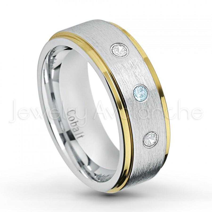 Mariage - November Birthstone Ring, 0.21ctw Topaz & Diamond 3-stone Band, Yellow Gold Plated Edge 2-Tone Comfort Fit Cobalt Chrome Wedding Band CT422