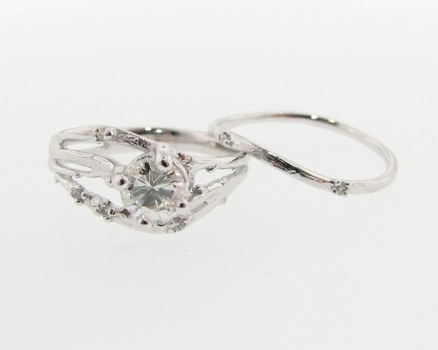 Hochzeit - Cherry Blossom Branch Wedding Set, Diamond & White Gold
