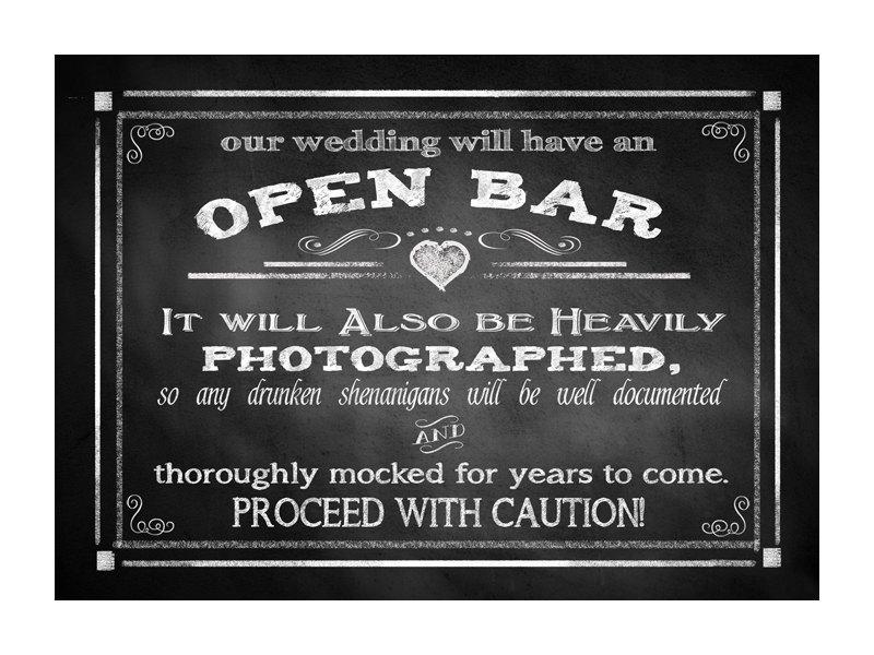 Mariage - Open Bar Printable Wedding Sign - DIY Digital Instant Download - 4 sizes Drunken sheningans wedding sign Rustic Heart Chalkboard Collection
