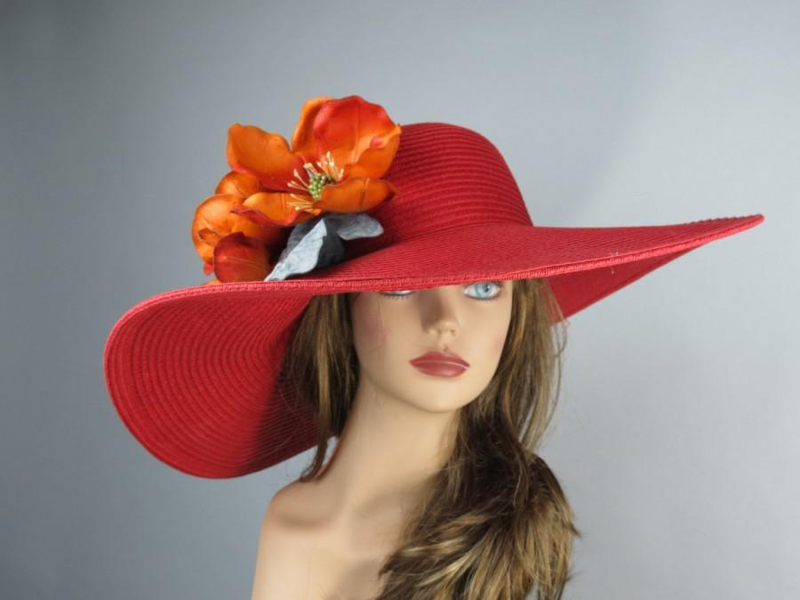 Red Hat Orange Magnolia Church Wedding Head Piece Kentucky Derby Bridal Coctail Couture Fascinator