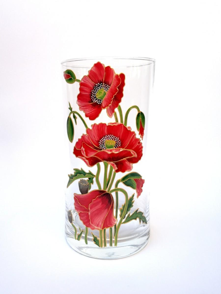 Birthday gift for her hand painted glass vase home decor room decoration flower vase centerpiece - Great decorative flower vase designs ...