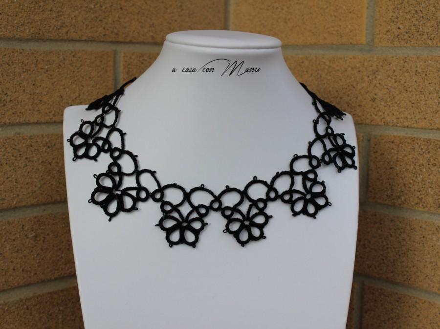 Mariage - Collana nera pizzo chiacchierino, black lace necklace tatting, frivolite bijoux, tatting necklace, per lei, regalo di Natale, made in Italy