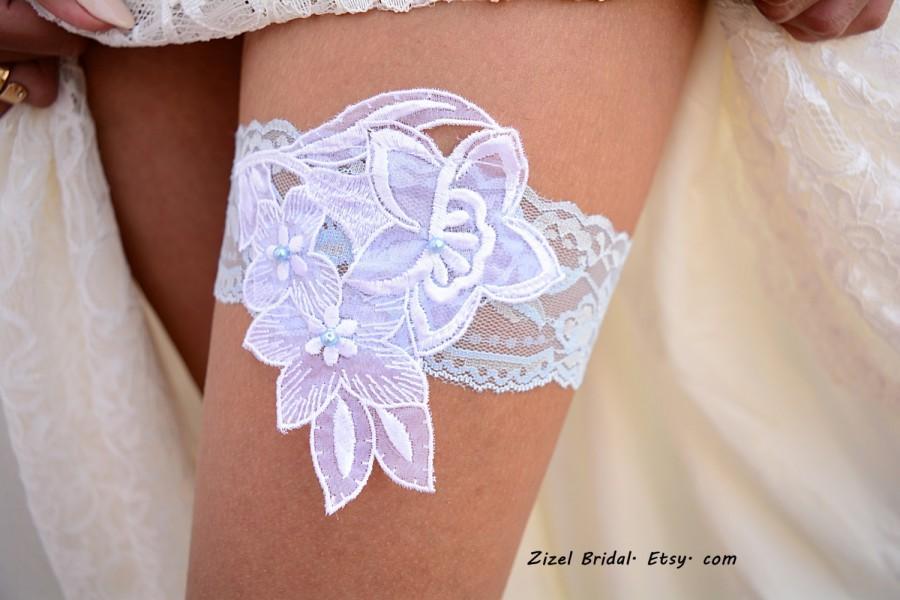 Mariage - Pale Blue Garter, Wedding Garter White, Light Blue Garter, Lace Wedding Garter, Bridal Garter, Something Blue, White Wedding Gift, Handmade