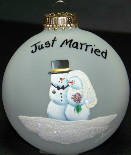 Mariage - Wedding Gift  Personalized Glass Ornament Just Married