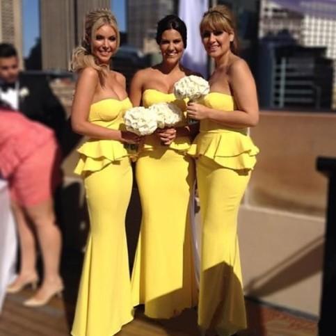 Wedding - Long Chiffon Bridesmaid Dress - Yellow Sheath Strapless from Dressywomen