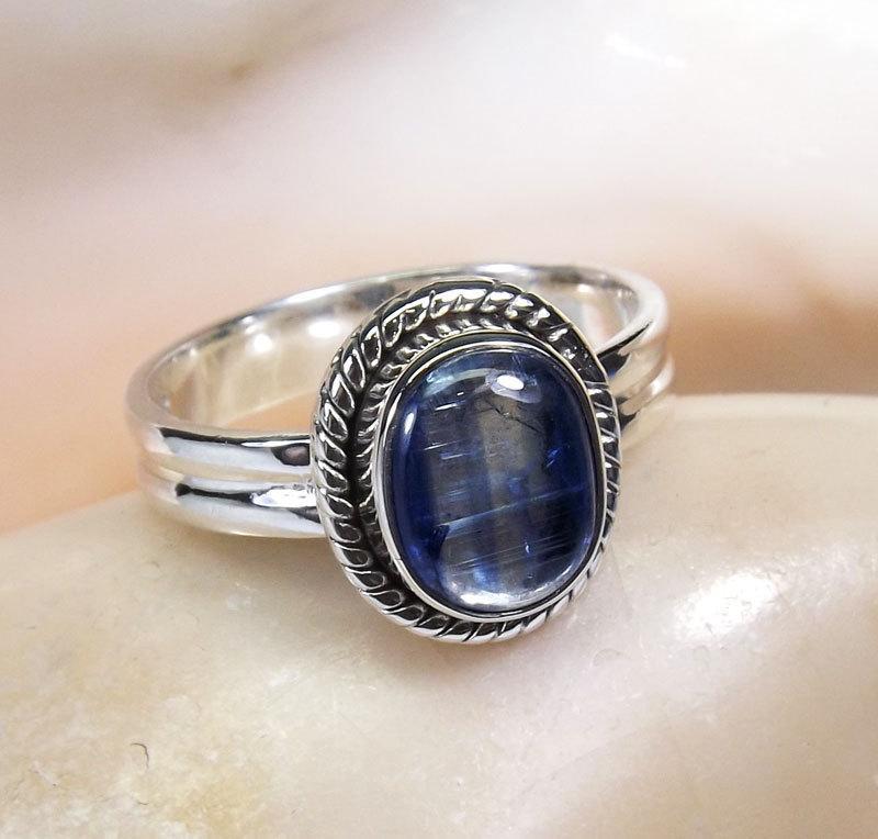 زفاف - Kyanite Gemstone, Kyanite Ring, Kyanite Stone Ring, Designer Ring, Unique Ring, Birthday Gift, Engagement Ring, Gemstone Ring, 925 Silver