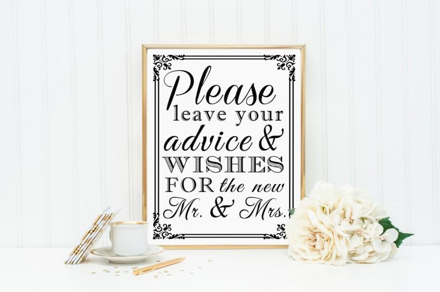 Hochzeit - 8 x 10 Guest Book Wedding Table Sign - Please Leave Your Advice And Wishes For The New Mr And Mrs - PRINTED SIGN