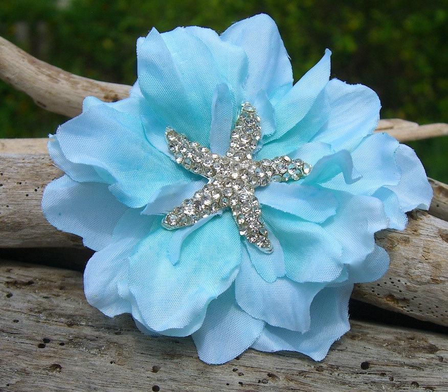 Mariage - Starfish Hair Accessory,Blue Hair Clip,Beach Wedding,Starfish Wedding,Starfish Hair Clip,Mermaid Accessories,Bridesmaid Hair Clip,Scuba Blue