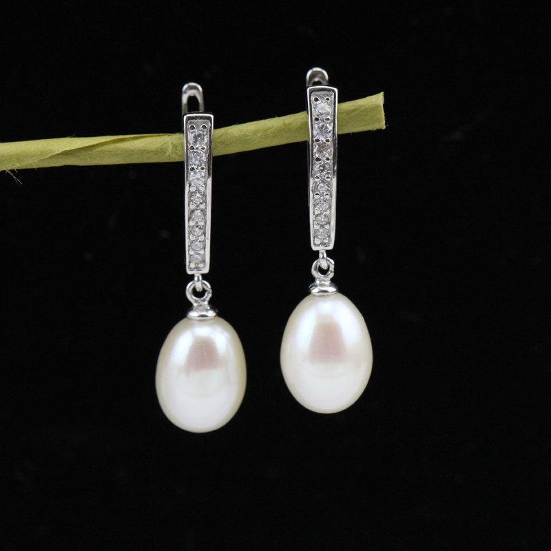 Wedding - leverback pearl earrings closed,bridal pearl earrings,bridesmaid earring,wedding pearl earings,white drop pearl earrings,silver earrings