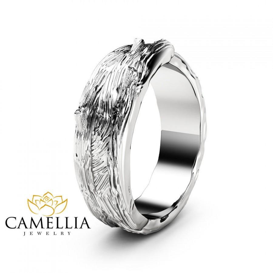 Mariage - Twig Design Mens Wedding Ring 14K Solid White Gold Branch Wedding Band