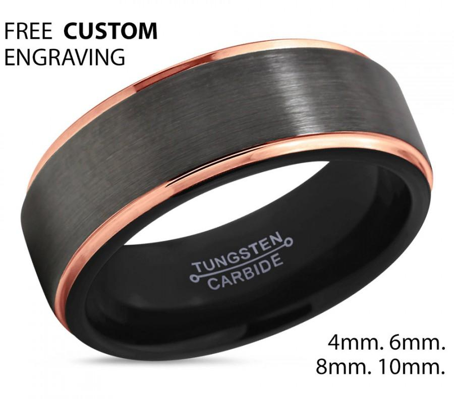 835b798620ed7 GUNMETAL Tungsten Ring Rose Gold Wedding Band Ring Tungsten Carbide ...