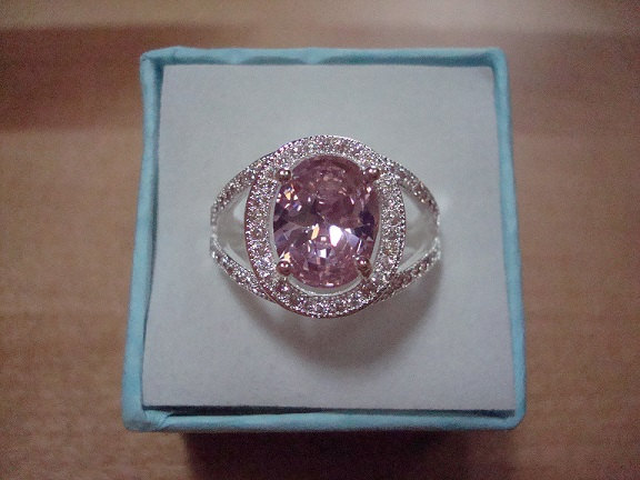 Mariage - Oval Cut Pink Sapphire Diamond Cut White Sapphire 925 Sterling Silver Halo Engagement Ring Size 7