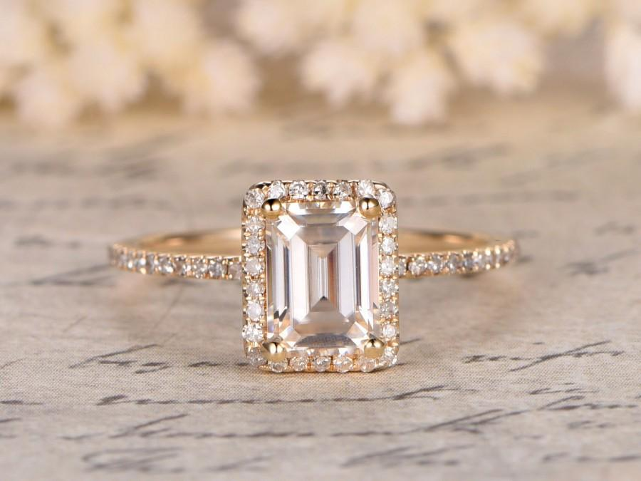 5x7mm Emerald Cut Moissanite Engagement Ring Diamond Wedding Band
