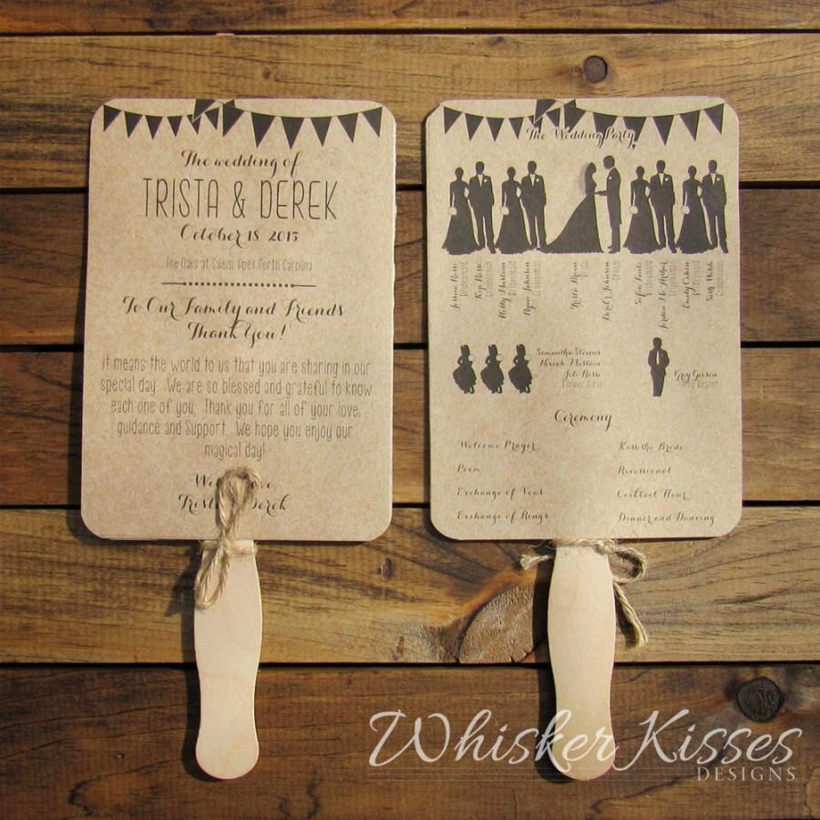 Rustic Wedding Program Fan Paddle Ceremony Country Kraft Unique 5 X 7 Double Sided Diy Set Or Fully Embled