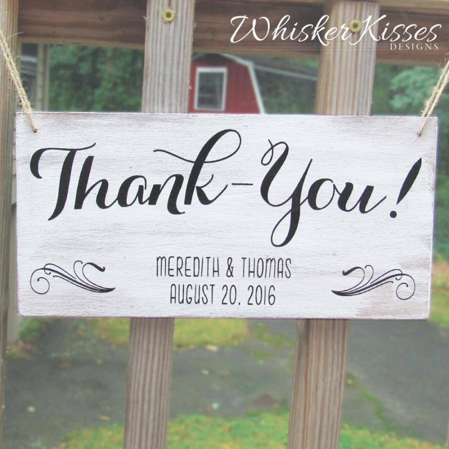 Mariage - Wooden Wedding Thank you Sign,  Save the Date Sign, Ring Bearer, Flower Girl Sign, Gift Idea for Bride, Rustic Wedding, Photo Prop
