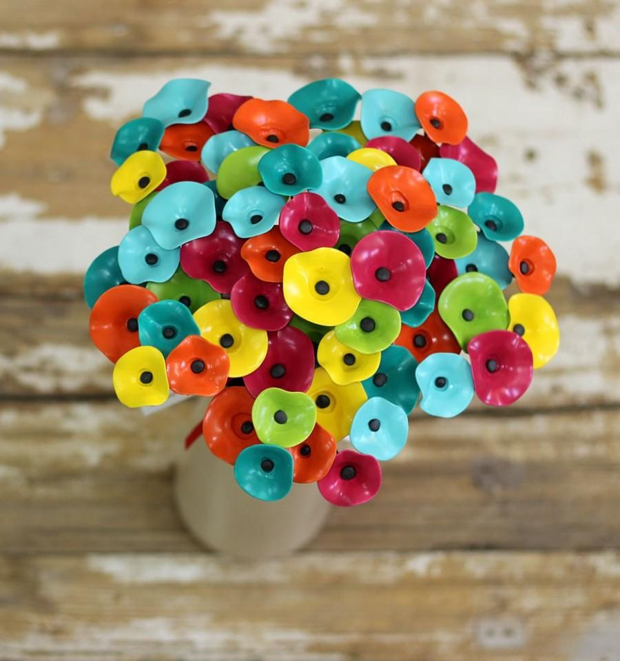 Wedding - Colorful Bridal Bouquet/Flower Girl/Alternative Bouquet/Artificial Ceramic Flowers/Bridesmaid/Beach Wedding/Modern Bride/Bright Colors/Gift