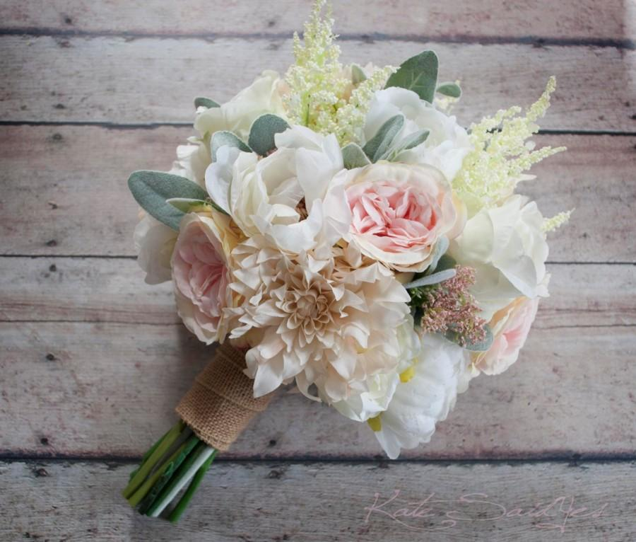 wedding bouquet blush pink and ivory garden rose dahlia and peony wedding bouquet with burlap wrap