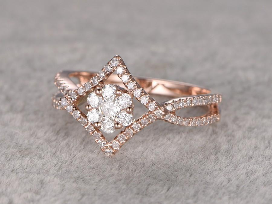 Cluster Diamond Engagement Ring Floral Wedding Ring 14K Rose Gold