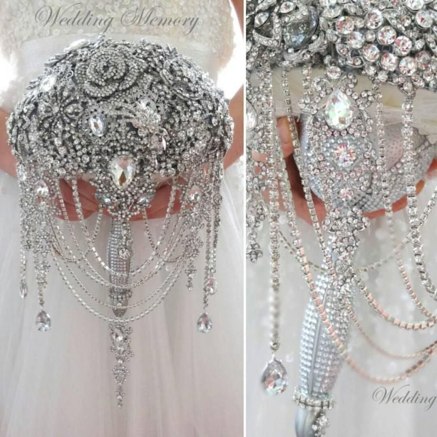 Wedding - Luxury full jeweled silver brooch bouquet by MemoryWedding. Wedding glamour Gatsby crystal bling cascading, lux handle bouqet