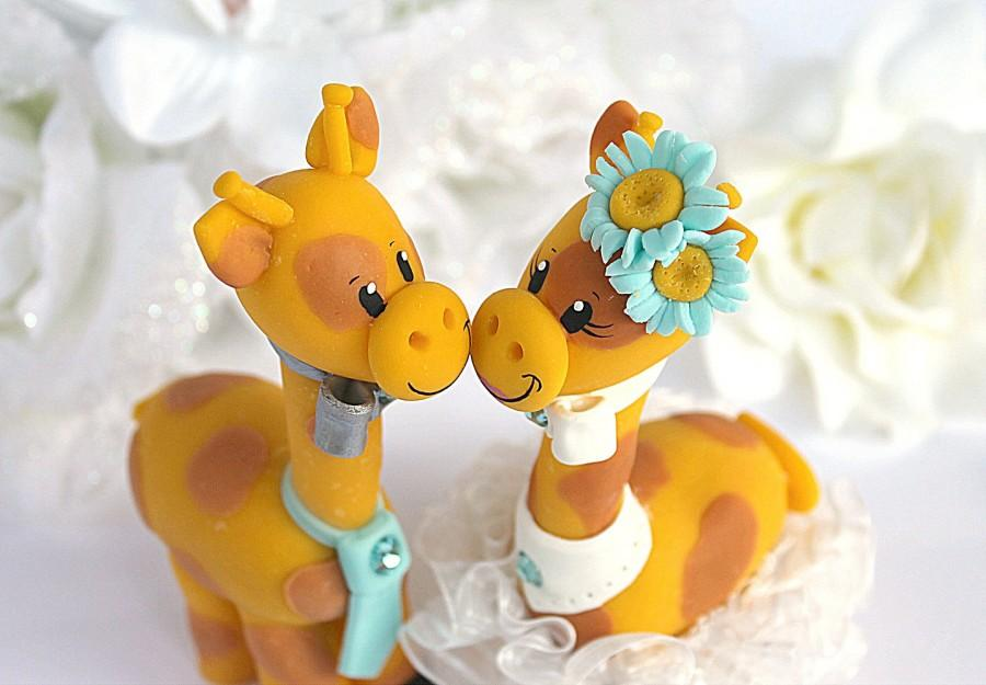 Custom Giraffe Wedding Cake Topper, Teal Wedding #2627453 - Weddbook
