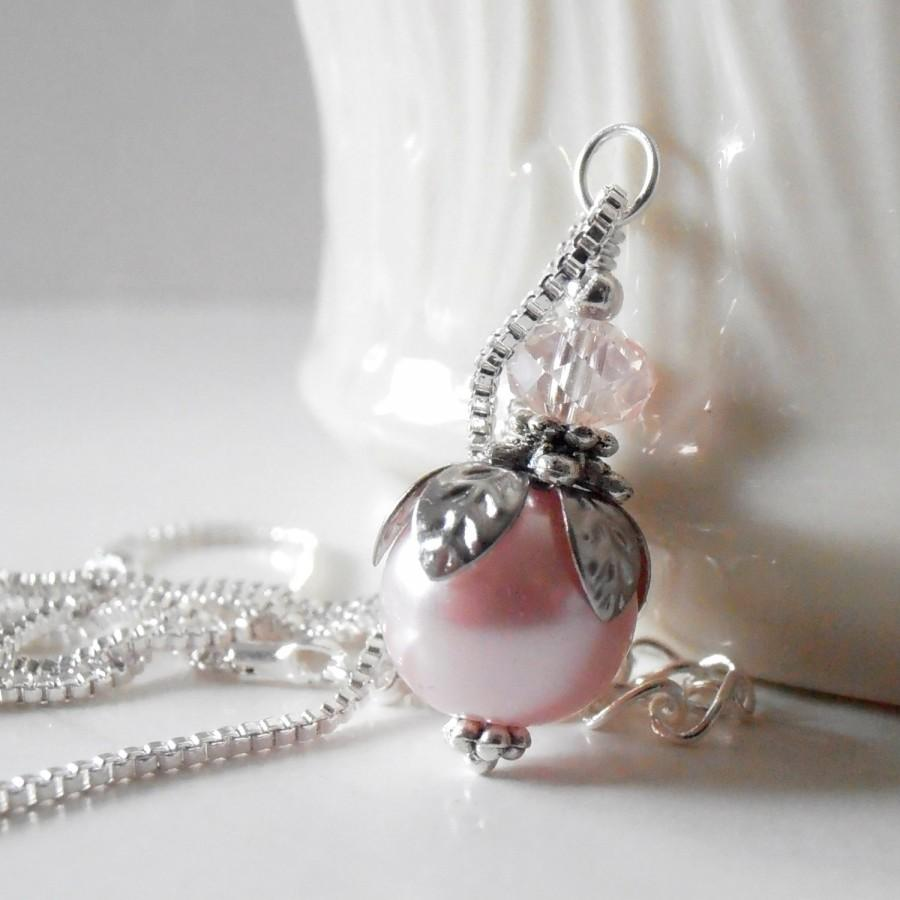 Wedding - Pink Pearl Necklace Bridesmaid Necklaces Pearl Pendant Pink Wedding Jewelry Set Beaded Jewelry Bridesmaid Gift Pink and Silver Pearl Jewelry