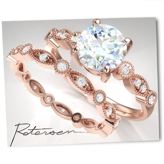 Sale Wedding Ring Set Rose Gold Engagement Ring Set Vintage