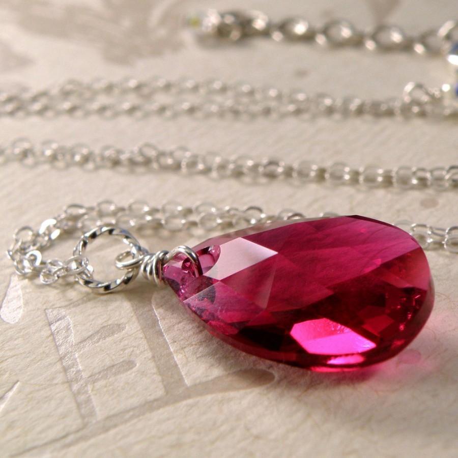 زفاف - Ruby Crystal Necklace, Sterling Silver, Teardrop Pendant, Wedding, Handmade Jewelry, July Birthstone, Fall Fashion, Ready to Ship