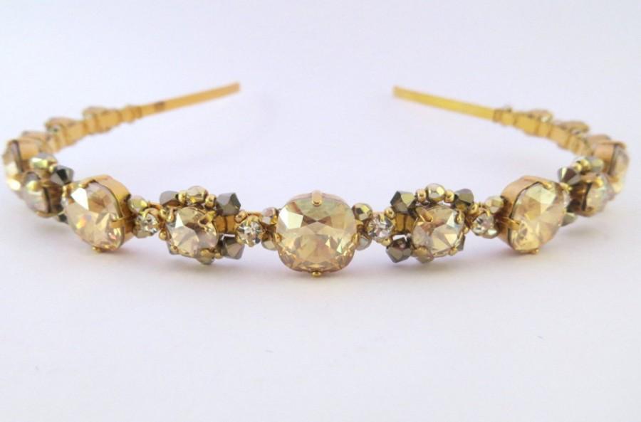 Mariage - Gold headband,wedding headband, Swarovski crystal headband,Gold headpiece,bridesmaid headpiece,gold headband,tiara,gold crown