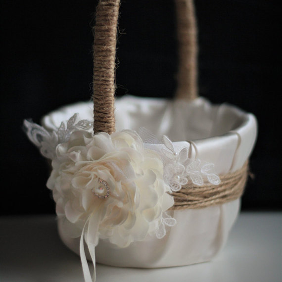 Wedding - Burlap Flower Girl Basket   Ivory Ring Bearer Pillow Set  Natural Rustic Wedding Basket & Ivory Rustic Ring Pillow with Lace and Flower