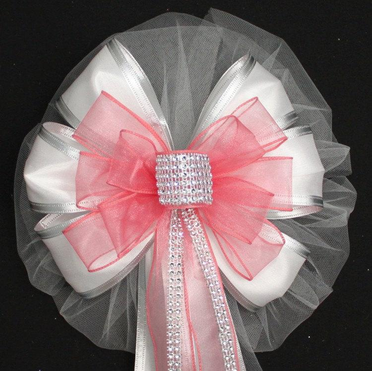 Coral Bling White Wedding Pew Bow