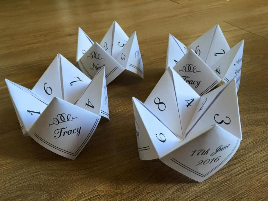 Свадьба - Paper fortune tellers/cootie catchers Digital file to print at home! Great table games or favours