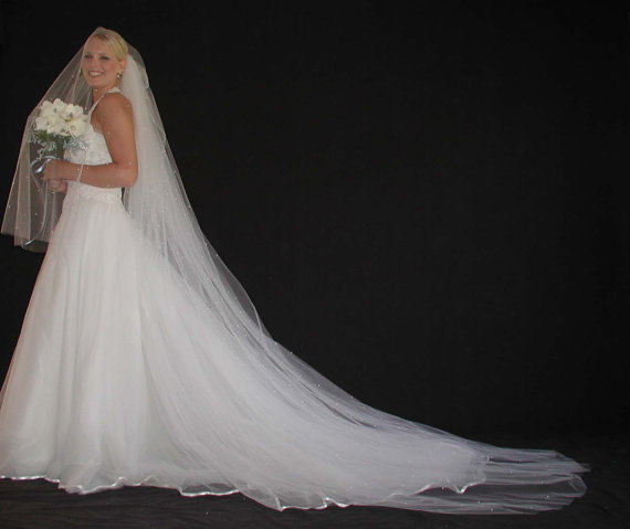 Mariage - 2layer wedding veil with scatered pearls. 2layer bridal veil with scattered pearls. Reading to Ship!